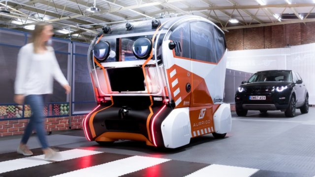 As part of Jaguar Land Rover government-supported UK Autodrive project, the manufacturer is trailing 'intelligent pods', armed with giant front-facing eyes that 'look' at pedestrians and signal that they have been identified.